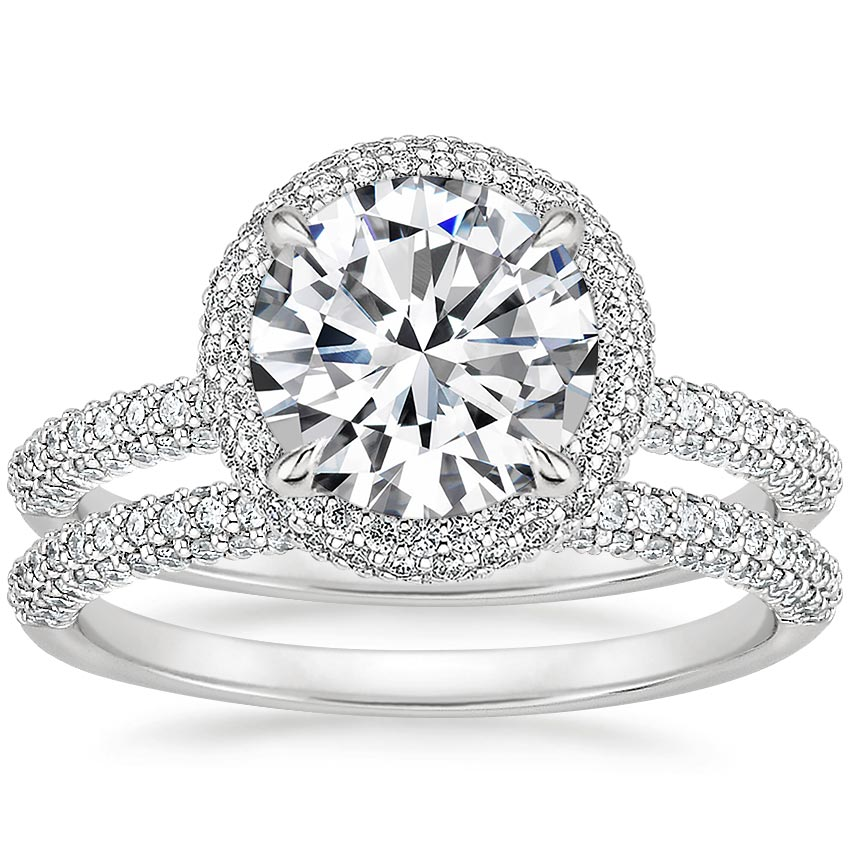Platinum Valencia Halo Diamond Bridal Set