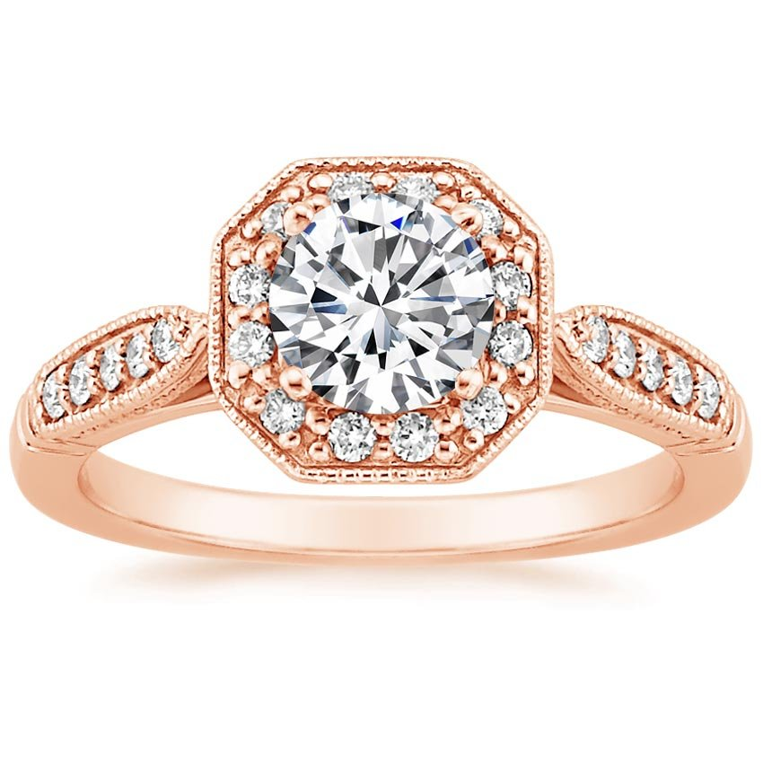 14K Rose Gold Victorian Halo Diamond Ring, top view