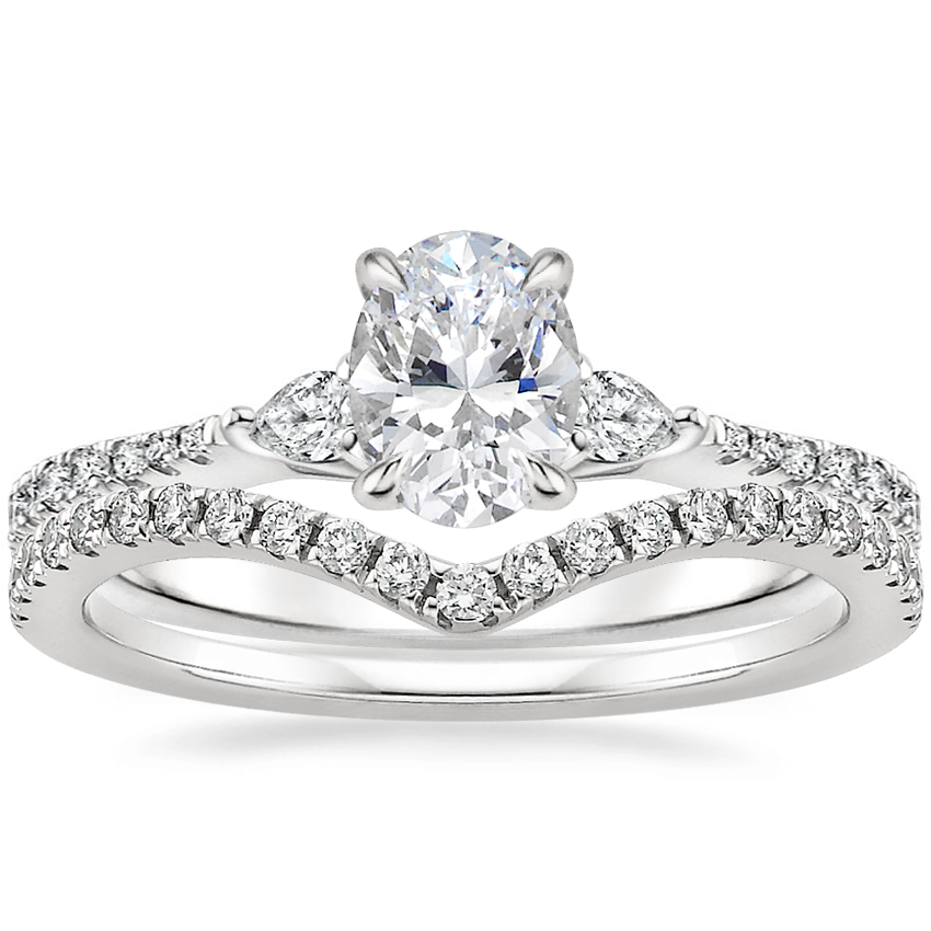 18K White Gold Luxe Aria Diamond Ring (1/5 ct. tw.) with Flair Diamond Ring (1/6 ct. tw.)