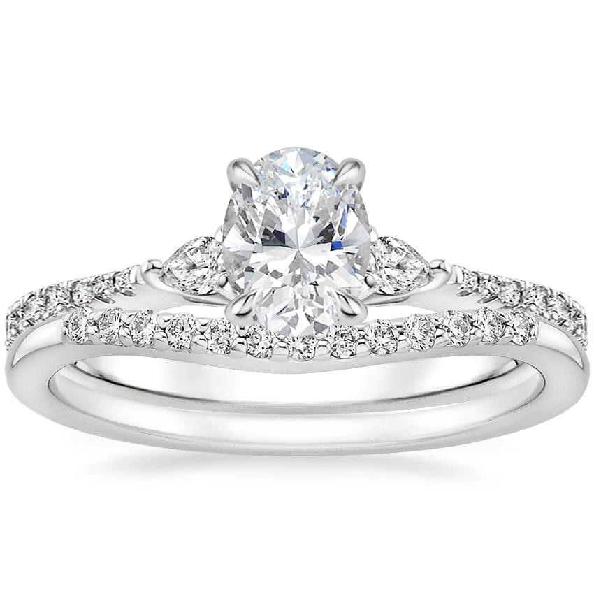 Platinum Luxe Aria Diamond Ring with Petite Curved Diamond Ring (1/10 ct. tw.)