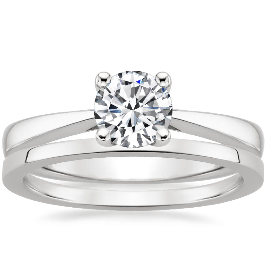 18K White Gold Petite Tapered Trellis Ring with Petite Quattro Wedding Ring