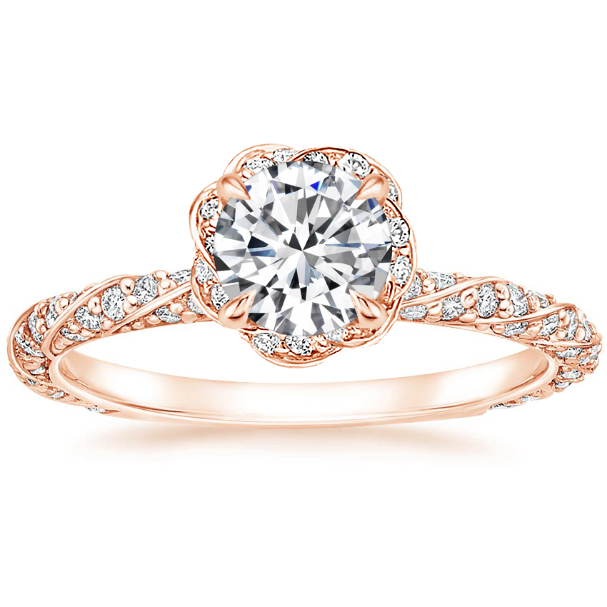 Round Twisted Halo Engagement Ring