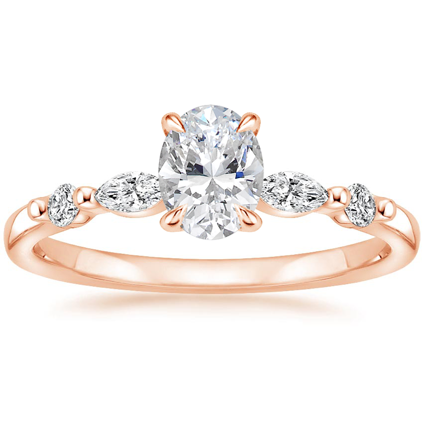 Oval 14K Rose Gold Petite Versailles Diamond Ring (1/6 ct. tw.)