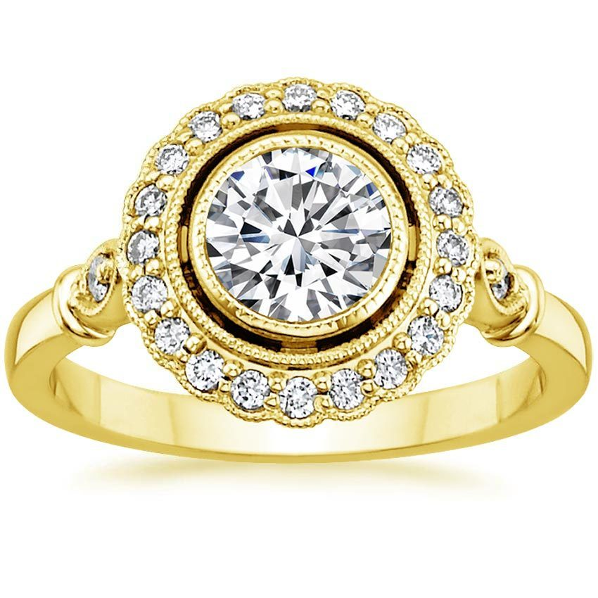 18K Yellow Gold Bella Diamond Ring, top view