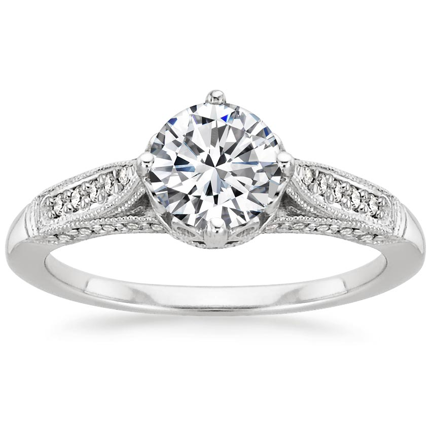 18K White Gold Heirloom Diamond Ring (1/4 ct. tw.), top view