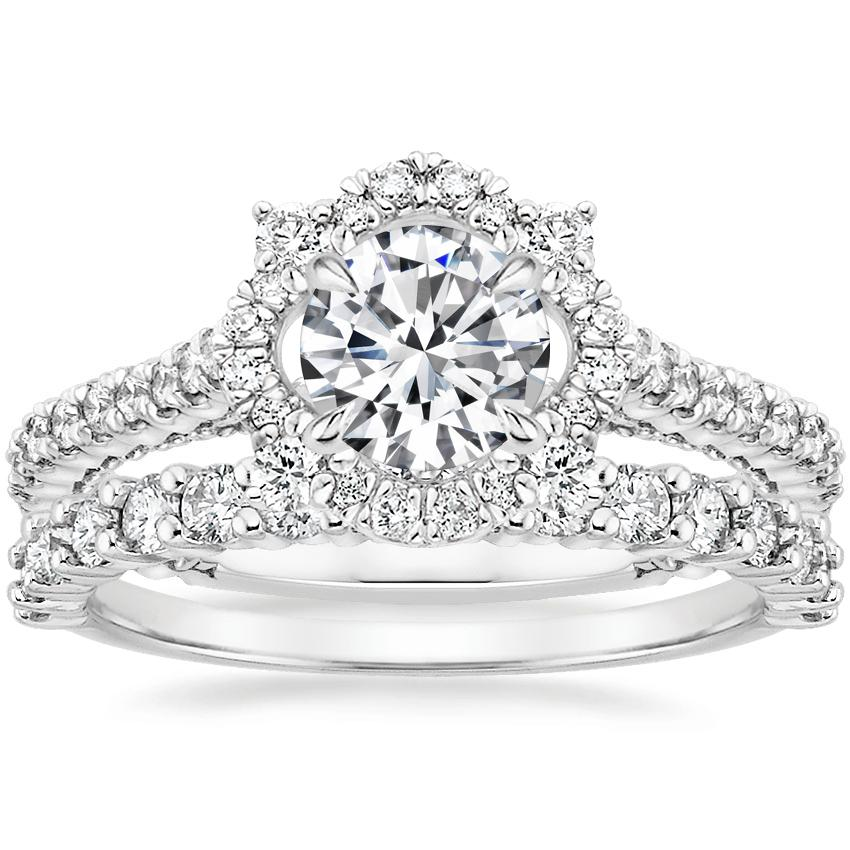 18K White Gold Fleur Halo Diamond Ring with Shared Prong Diamond Ring (2/5 ct. tw.)