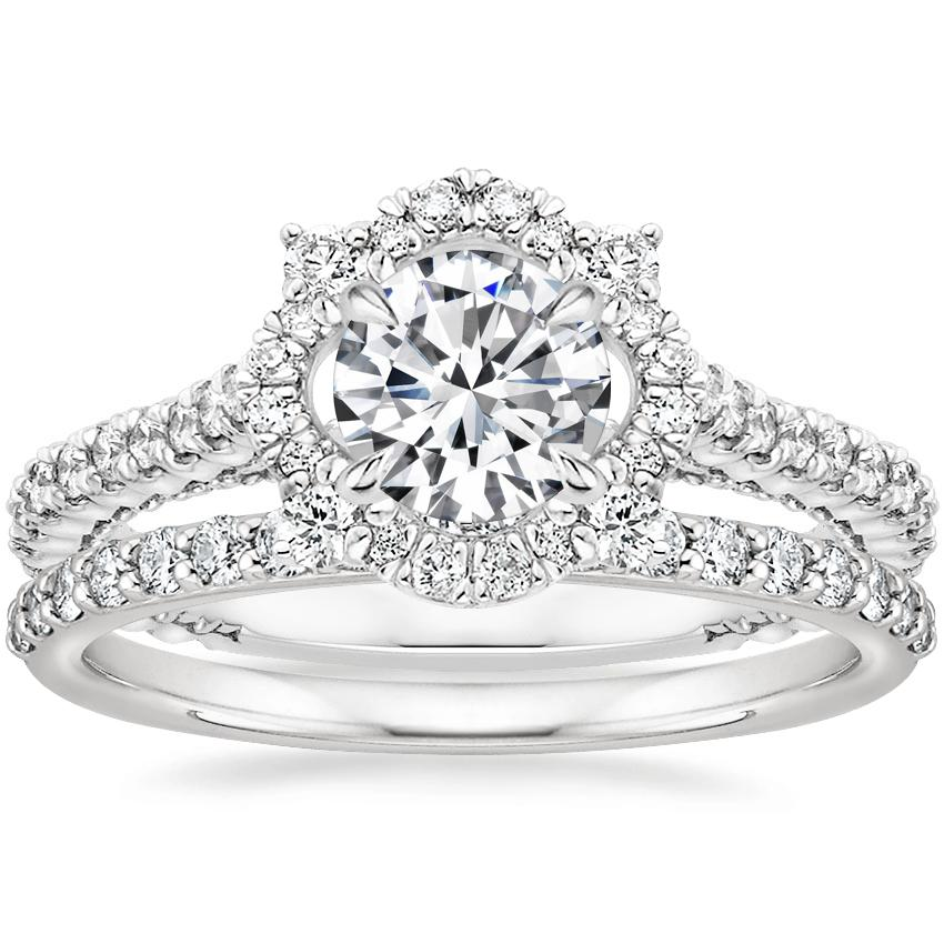 Platinum Fleur Halo Diamond Ring with Petite Shared Prong Diamond Ring (1/4 ct. tw.)