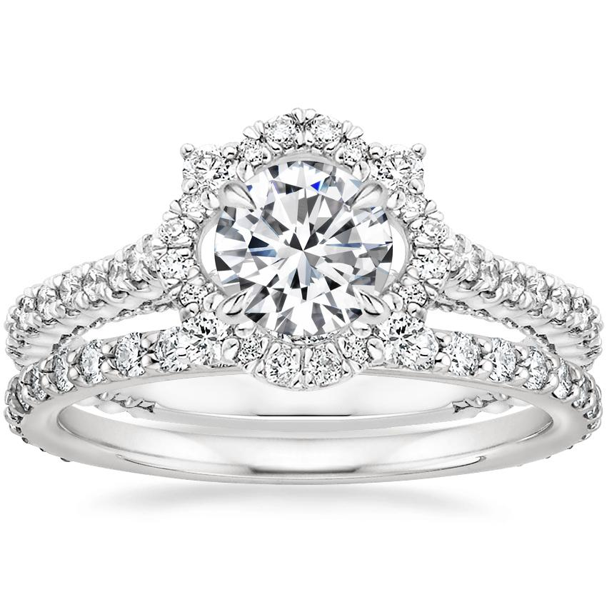 18K White Gold Fleur Diamond Ring with Luxe Petite Shared Prong Diamond Ring (3/8 ct. tw.)