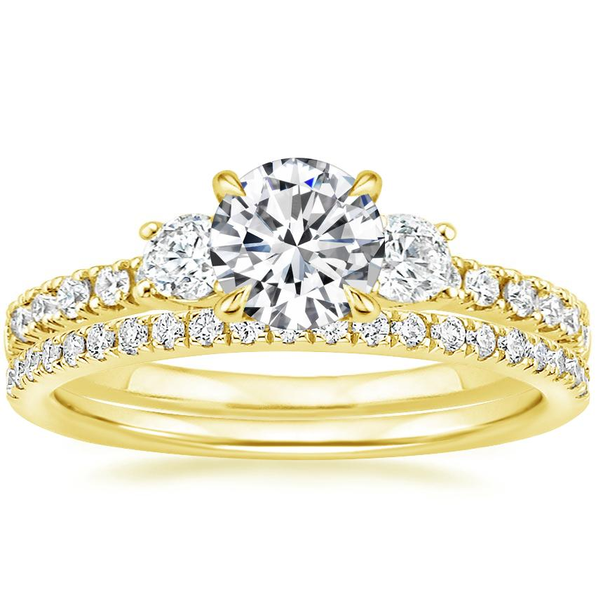18K Yellow Gold Radiance Diamond Ring (1/3 ct. tw.) with Ballad Diamond Ring (1/6 ct. tw.)