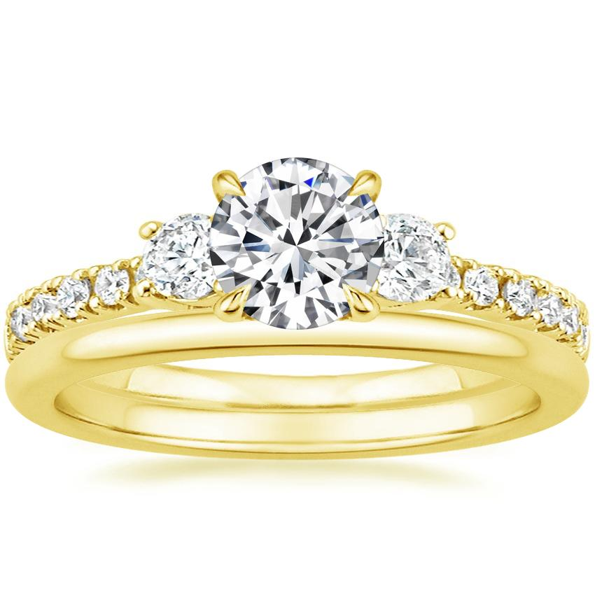 18K Yellow Gold Radiance Diamond Ring (1/3 ct. tw.) with Petite Comfort Fit Wedding Ring