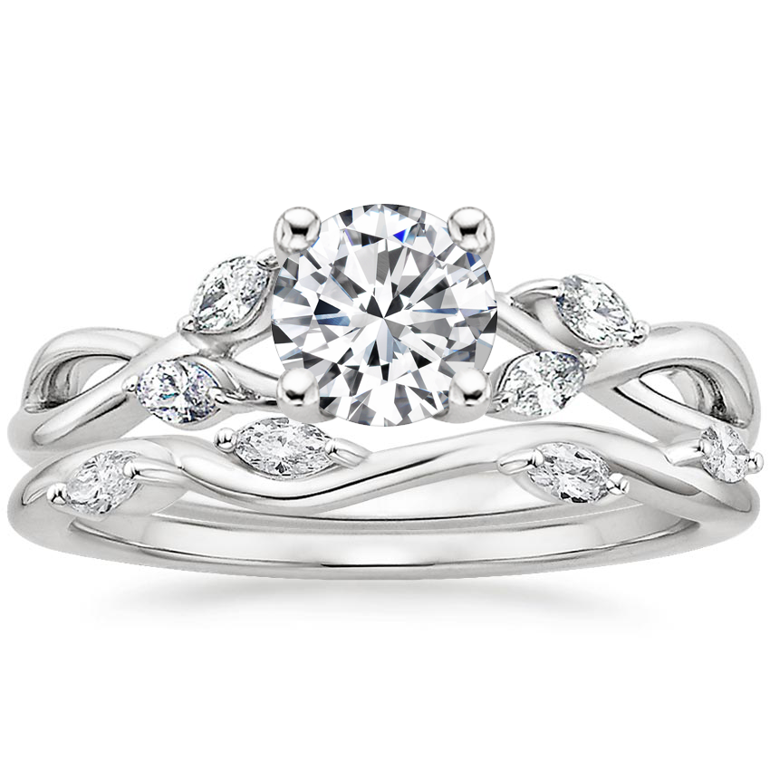 18K White Gold Willow Diamond Ring (1/8 ct. tw) with Winding Willow Diamond Ring (1/8 ct. tw.)