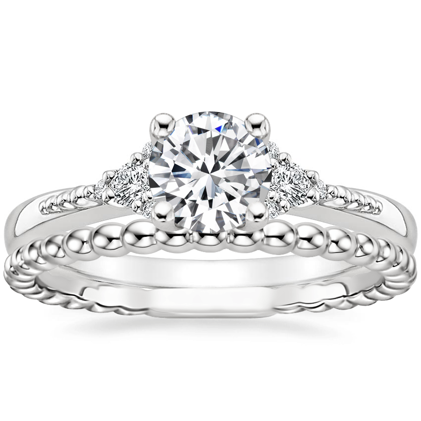 18K White Gold Cuvee Diamond Ring with Juliet Ring
