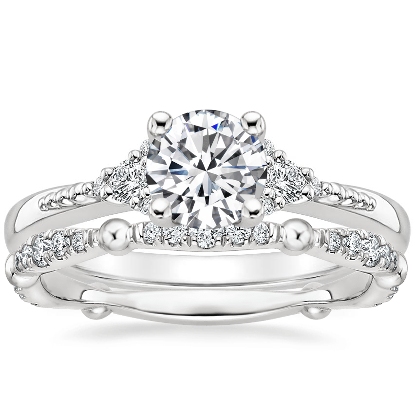 18K White Gold Cuvee Diamond Ring with Dolce Diamond Ring