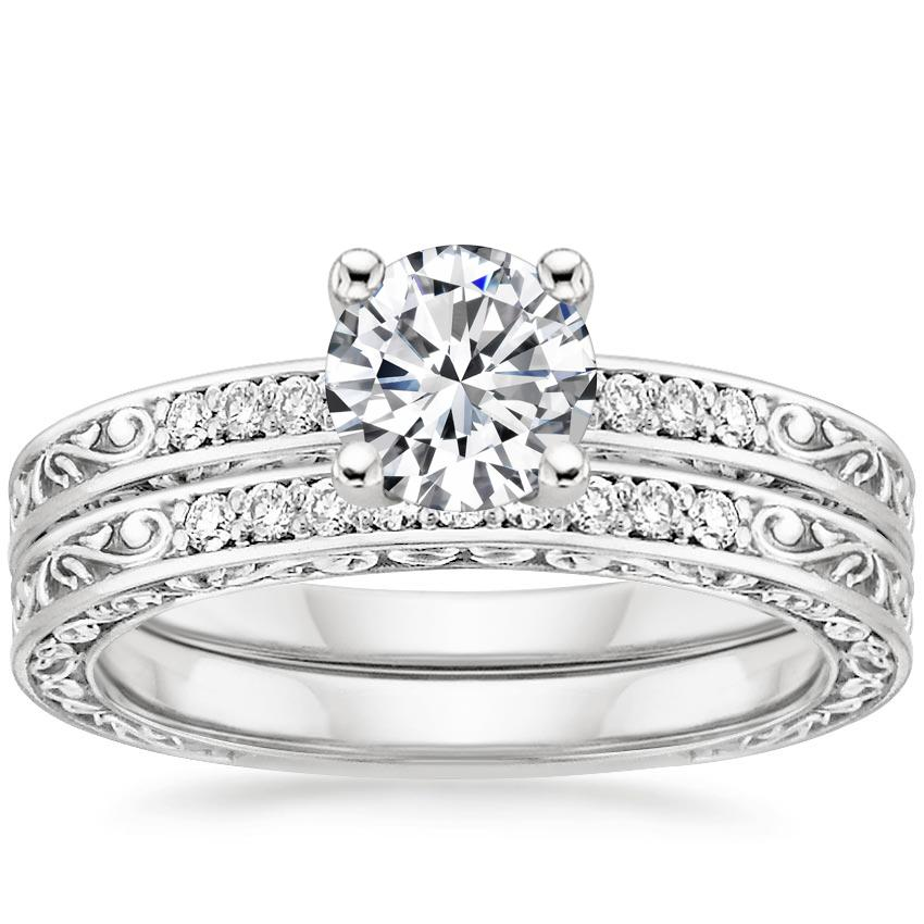 Platinum Delicate Antique Scroll Diamond Bridal Set