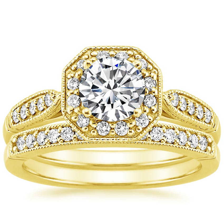 18K Yellow Gold Victorian Halo Diamond Matched Set (1/3 ct. tw.)