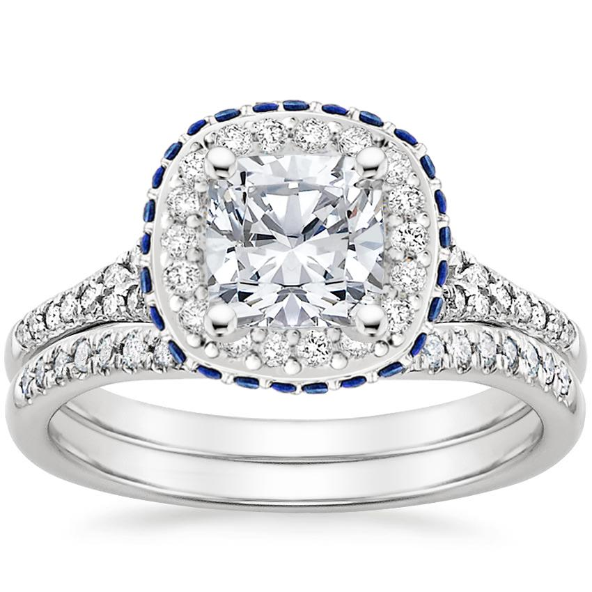 Platinum Circa Diamond Bridal Set with Sapphire Accents (1/3 ct. tw.)
