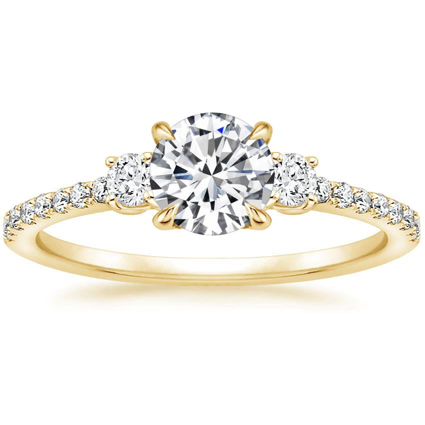 Round 18K Yellow Gold Lyra Diamond Ring (1/4 ct. tw.)