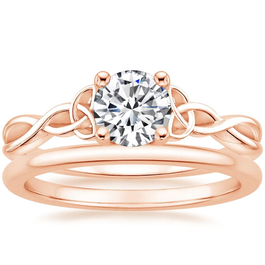 14K Rose Gold Entwined Celtic Love Knot Ring with Petite Comfort Fit Wedding Ring