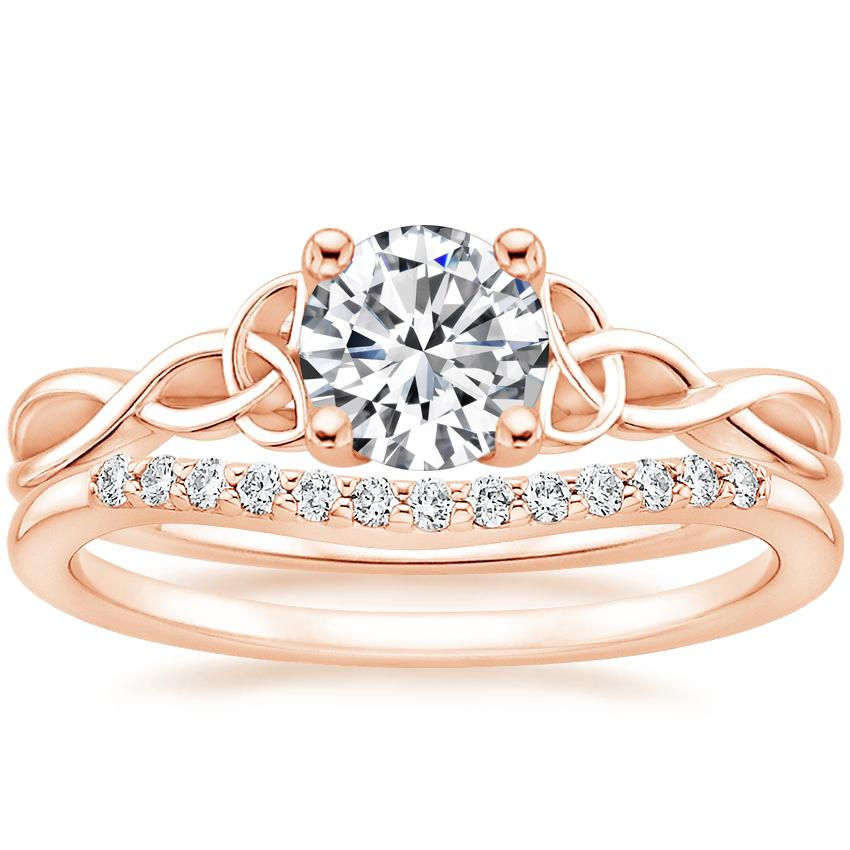 14K Rose Gold Entwined Celtic Love Knot Ring with Petite Curved Diamond Ring (1/10 ct. tw.)
