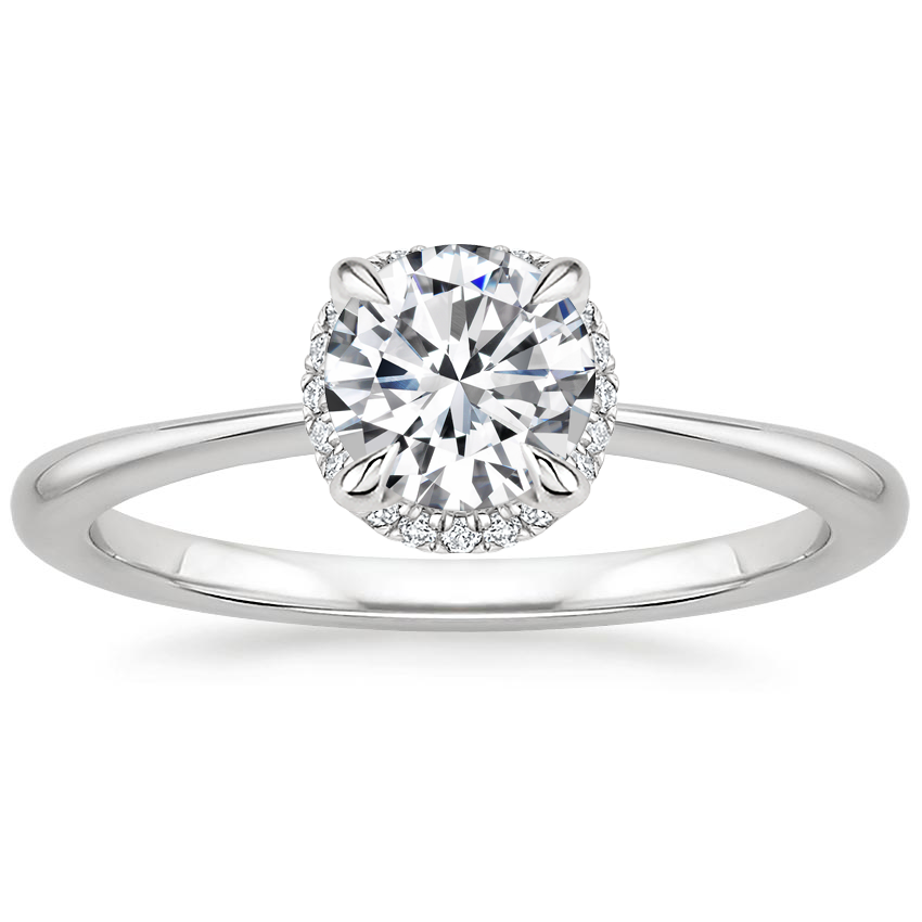 Round Scalloped Diamond Gallery Engagement Ring