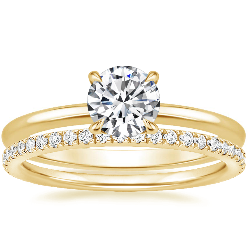 18K Yellow Gold Secret Halo Diamond Ring with Luxe Ballad Diamond Ring (1/4 ct. tw.)