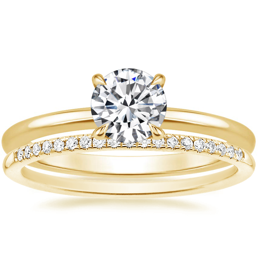 18K Yellow Gold Secret Halo Diamond Ring with Whisper Diamond Ring (1/10 ct. tw.)