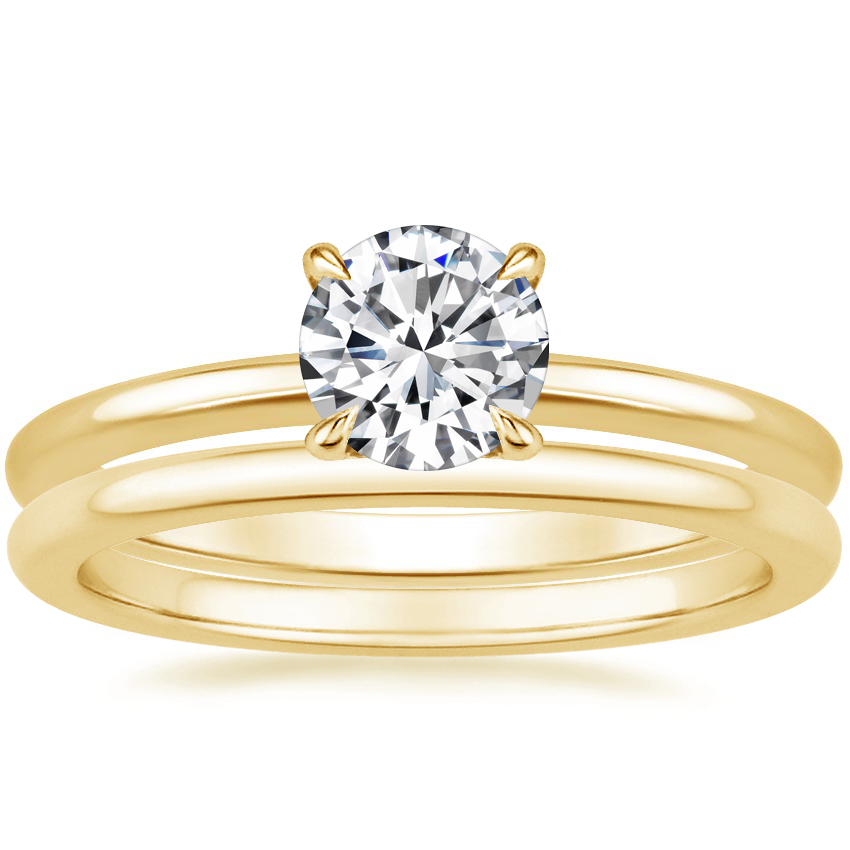 18K Yellow Gold Secret Halo Diamond Ring with Petite Comfort Fit Wedding Ring