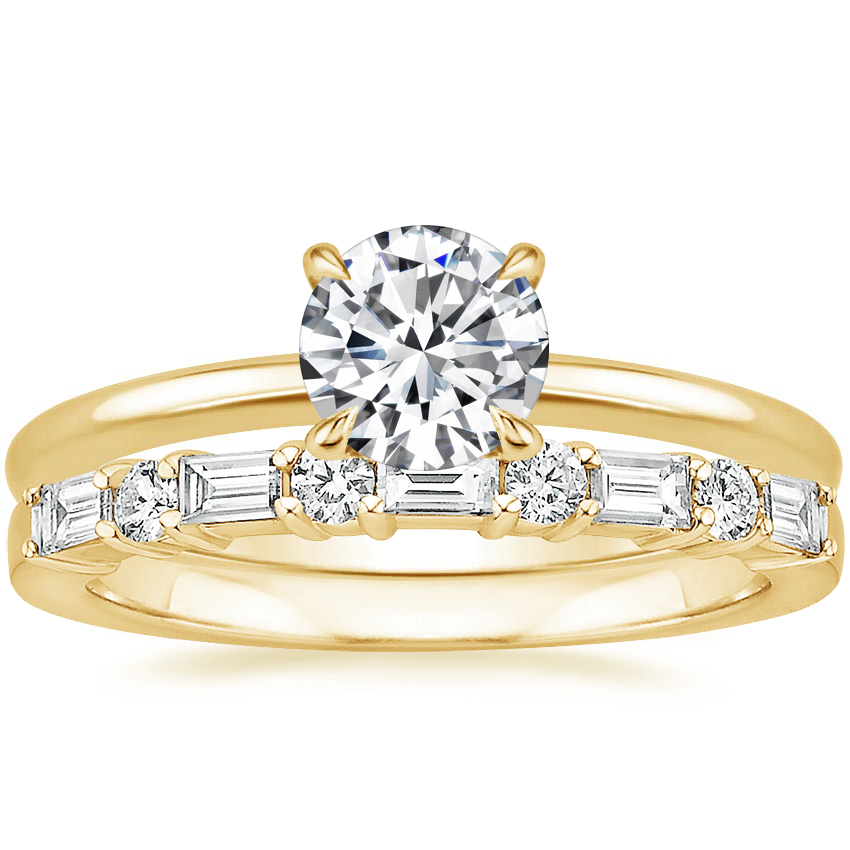 18K Yellow Gold Secret Halo Diamond Ring with Leona Diamond Ring (1/3 ct. tw.)