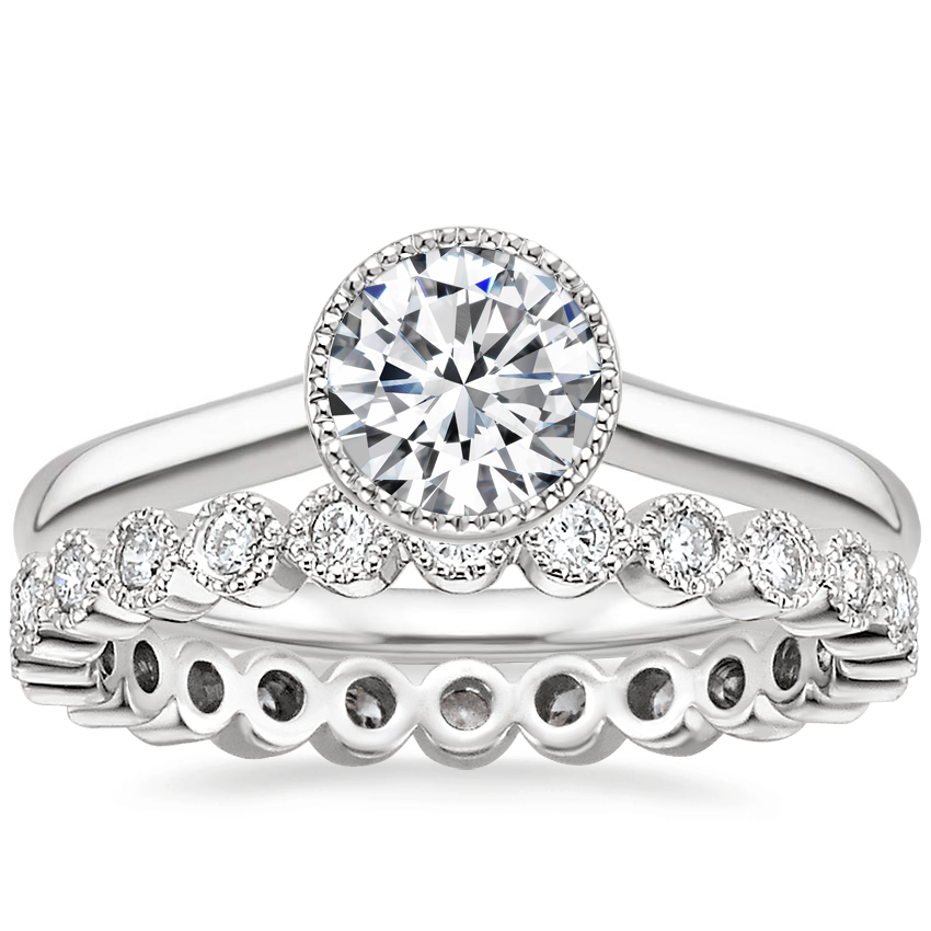 18K White Gold Margot Ring with Solstice Eternity Diamond Ring (1/3 ct. tw.)