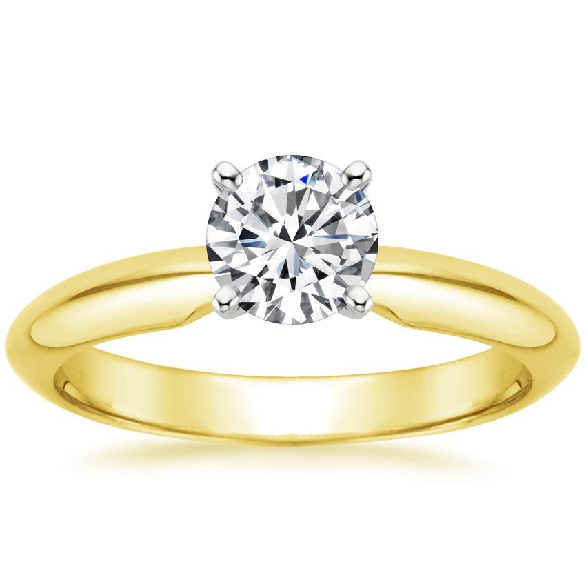 18K Yellow Gold Four-Prong Classic Ring, top view
