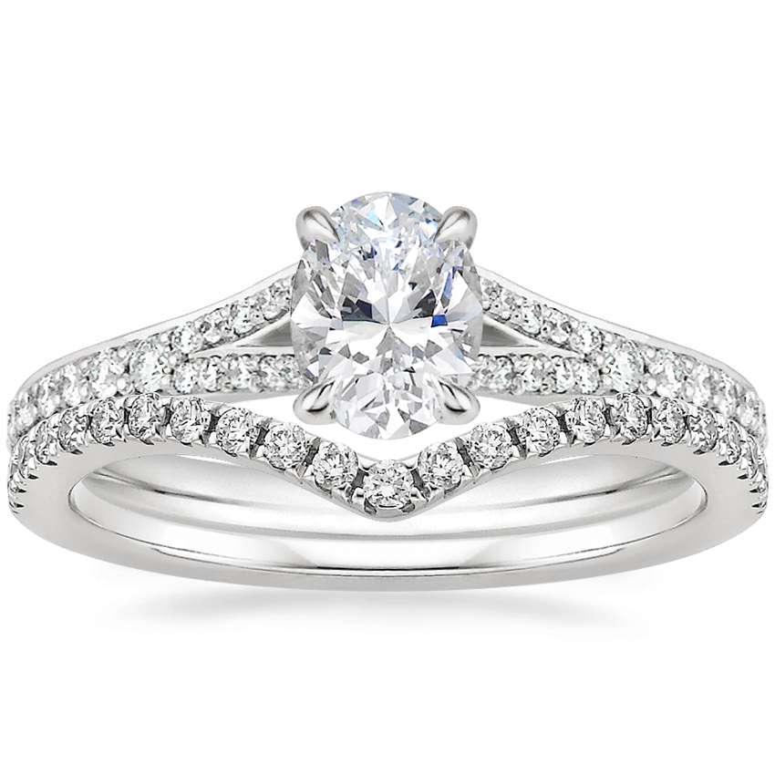 18K White Gold Duet Diamond Ring with Flair Diamond Ring (1/6 ct. tw.)