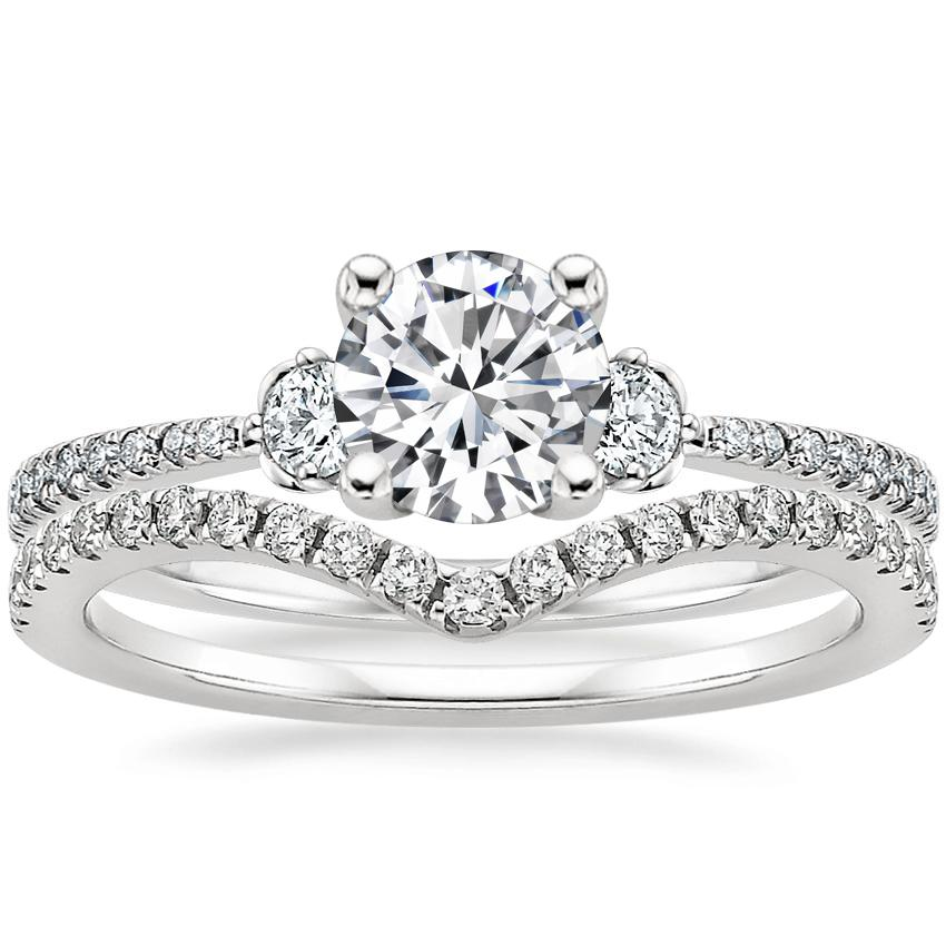 18K White Gold Luxe Blossom Diamond Ring (1/5 ct. tw.) with Flair Diamond Ring (1/6 ct. tw.)
