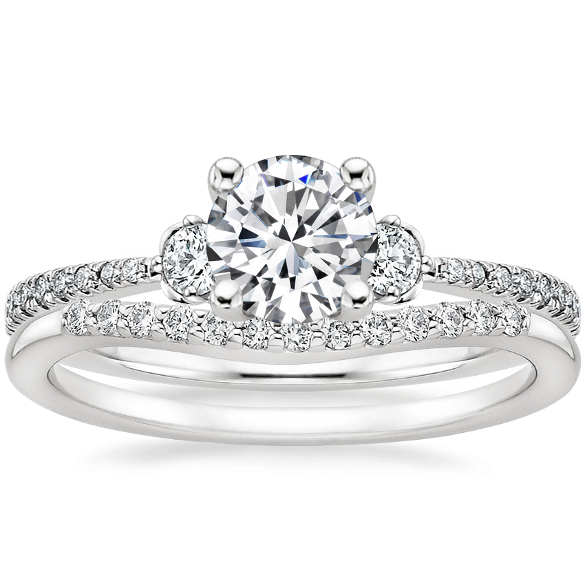 18K White Gold Luxe Blossom Diamond Ring (1/5 ct. tw.) with Petite Curved Diamond Ring (1/10 ct. tw.)