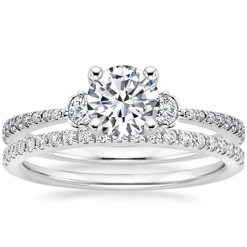 18K White Gold Luxe Blossom Diamond Ring (1/5 ct. tw.) with Ballad Diamond Ring (1/6 ct. tw.)