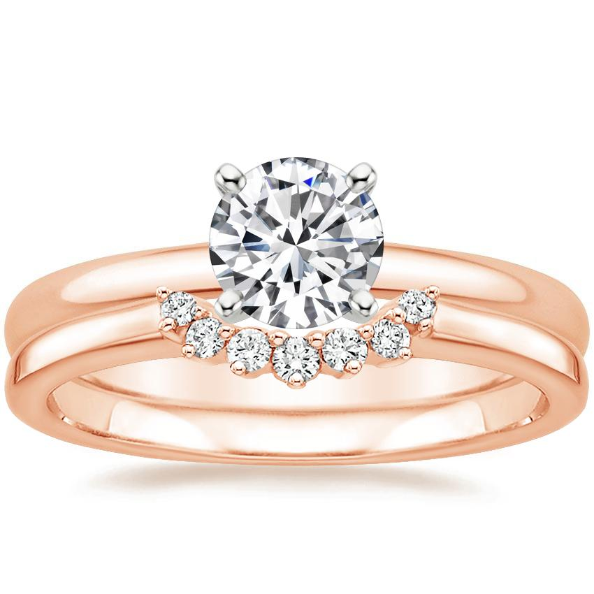14K Rose Gold 2mm Comfort Fit Ring with Crescent Diamond Ring