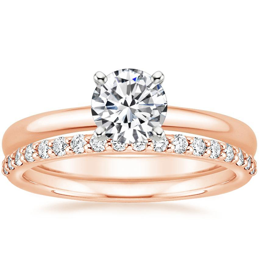 14K Rose Gold 2mm Comfort Fit Ring with Petite Shared Prong Diamond Ring (1/4 ct. tw.)