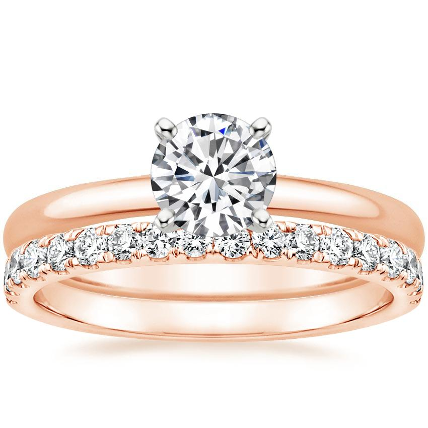 14K Rose Gold 2mm Comfort Fit Ring with Constance Diamond Ring (1/3 ct. tw.)