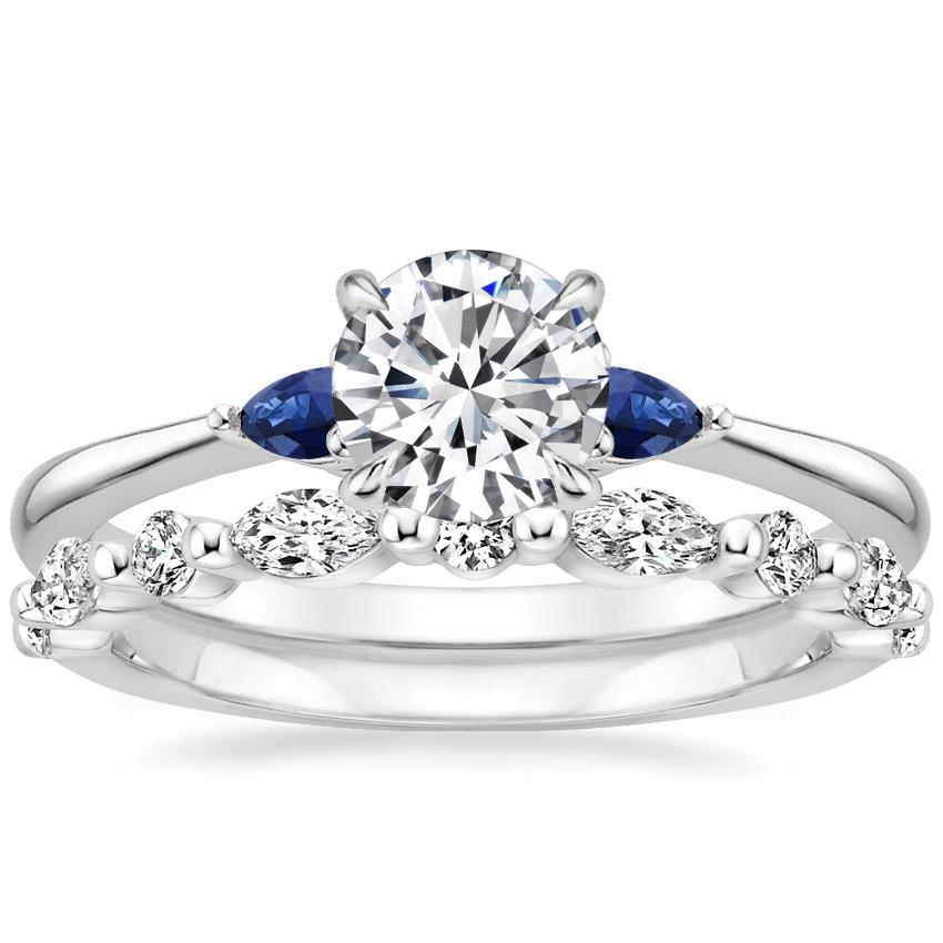 18K White Gold Aria Diamond Ring with Sapphire Accents with Versailles Diamond Ring (2/5 ct. tw.)