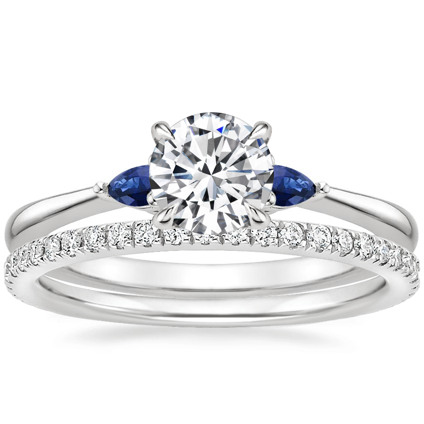 18K White Gold Aria Diamond Ring with Sapphire Accents with Luxe Ballad Diamond Ring (1/4 ct. tw.)