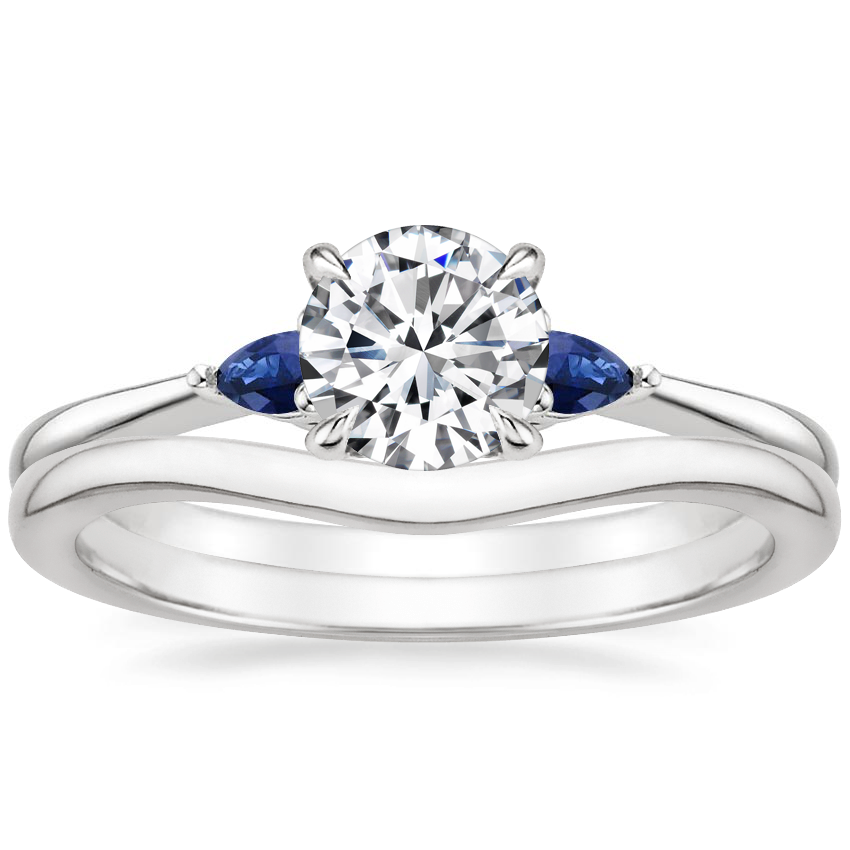 18K White Gold Aria Diamond Ring with Sapphire Accents with Petite Curved Wedding Ring