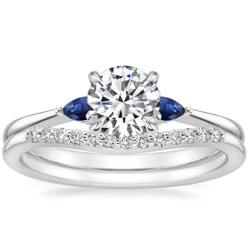 18K White Gold Aria Diamond Ring with Sapphire Accents with Petite Curved Diamond Ring (1/10 ct. tw.)