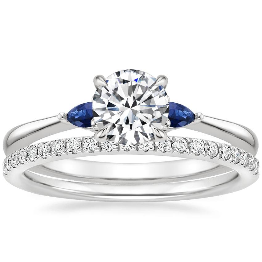 Platinum Aria Diamond Ring with Sapphire Accents with Ballad Diamond Ring (1/6 ct. tw.)
