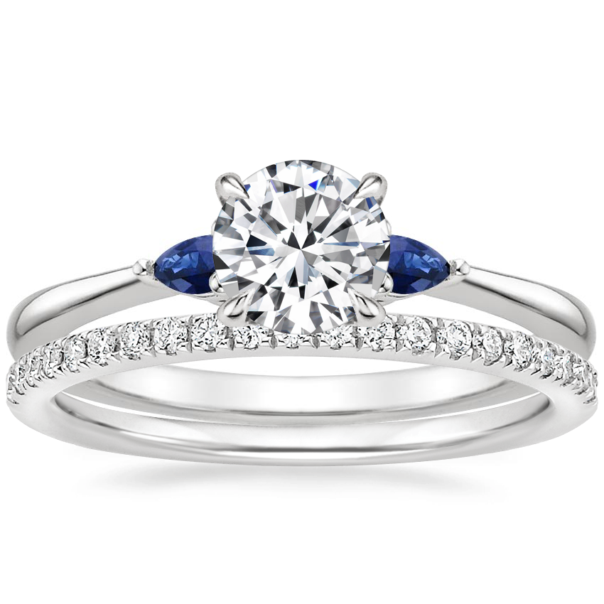 18K White Gold Aria Diamond Ring with Sapphire Accents with Ballad Diamond Ring (1/6 ct. tw.)