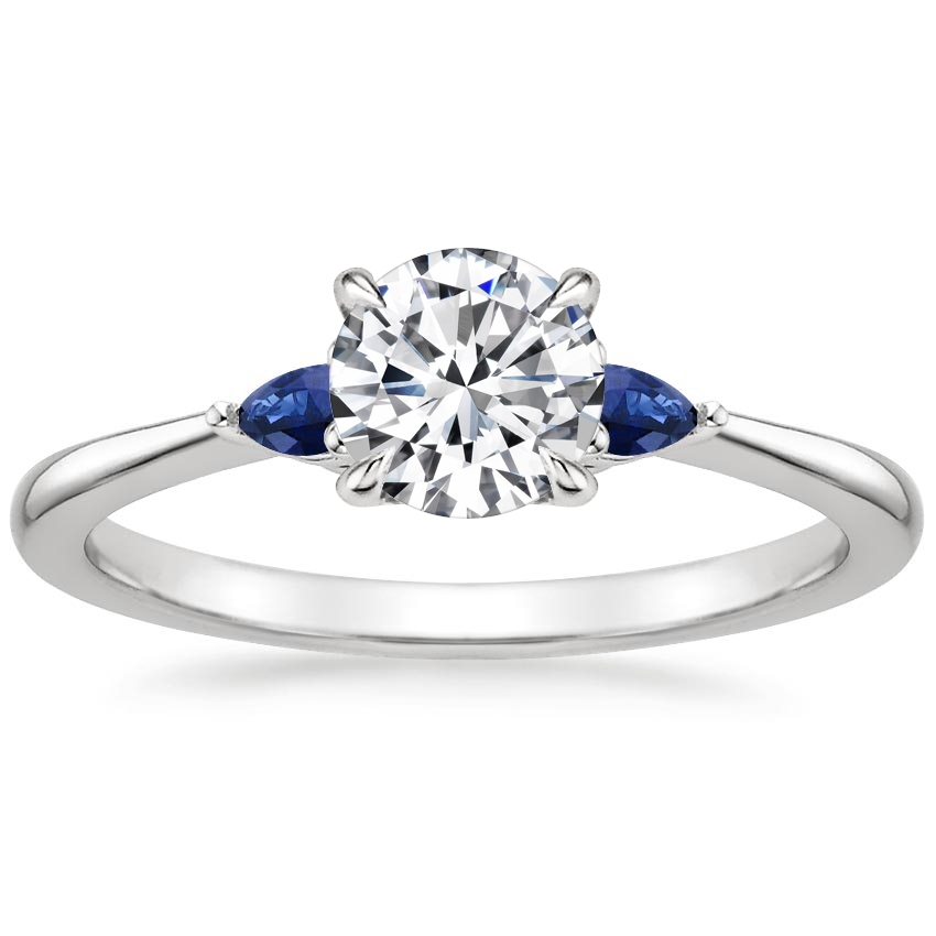Round Platinum Aria Ring with Sapphire Accents