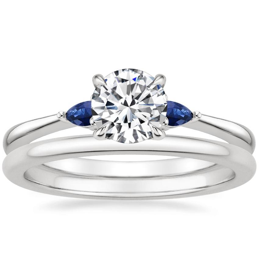 Platinum Aria Diamond Ring with Sapphire Accents with Petite Comfort Fit Wedding Ring