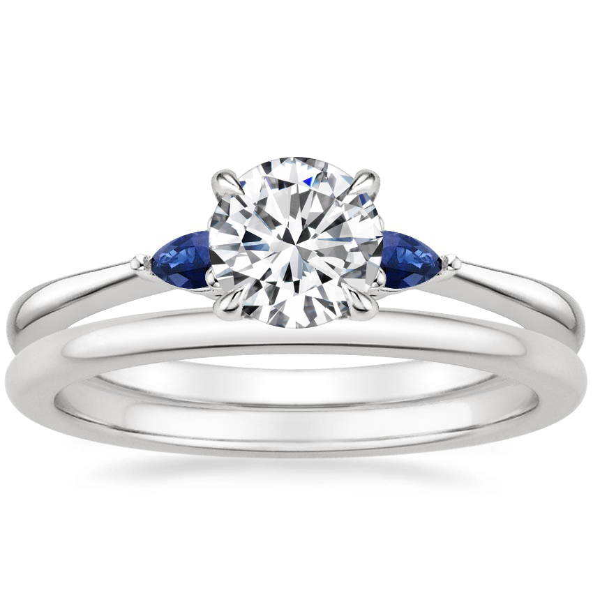 18K White Gold Aria Diamond Ring with Sapphire Accents with Petite Comfort Fit Wedding Ring