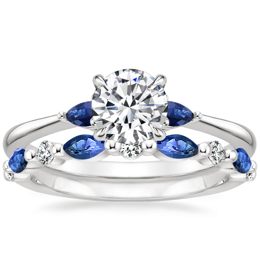18K White Gold Aria Ring with Sapphire Accents with Versailles Sapphire and Diamond Ring (1/8 ct. tw.)