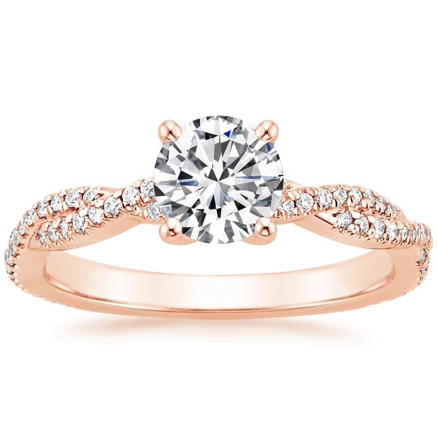 14K Rose Gold Petite Luxe Twisted Vine Diamond Ring (1/4 ct. tw.), top view