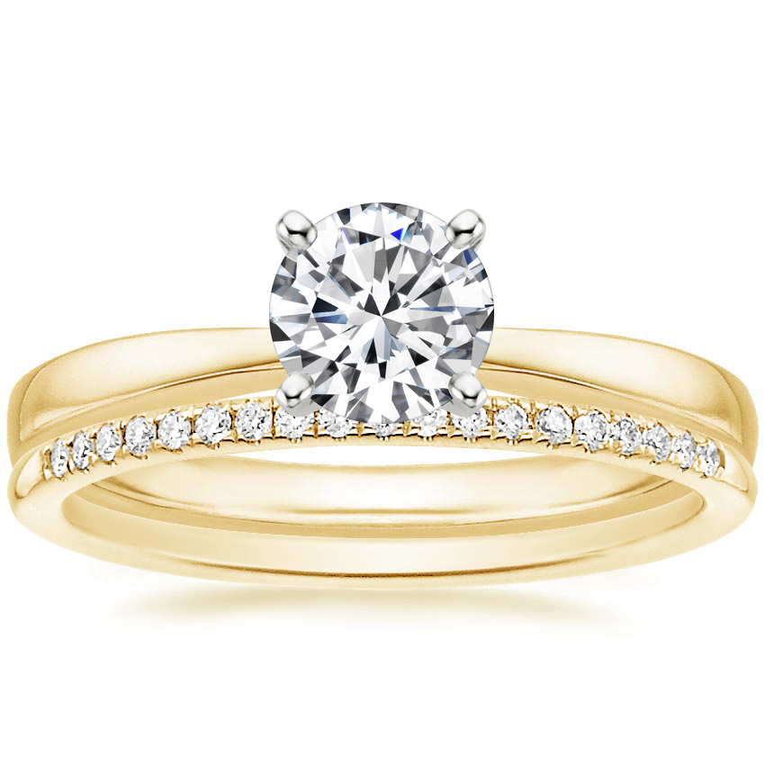 18K Yellow Gold Petite Taper Ring with Whisper Diamond Ring (1/10 ct. tw.)
