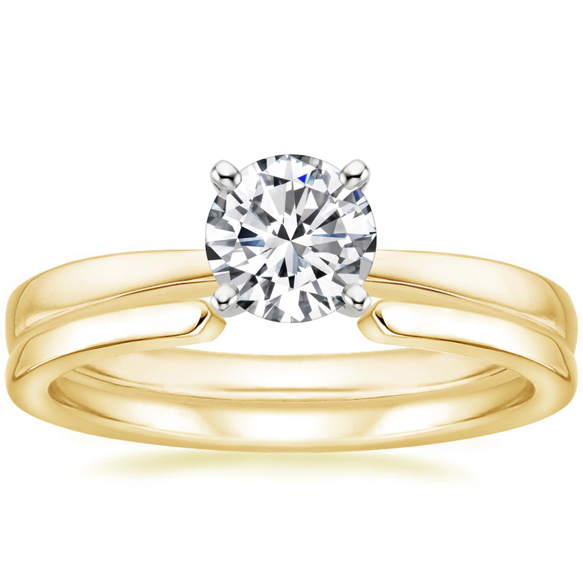 18K Yellow Gold Petite Taper Ring with Liv Wedding Ring